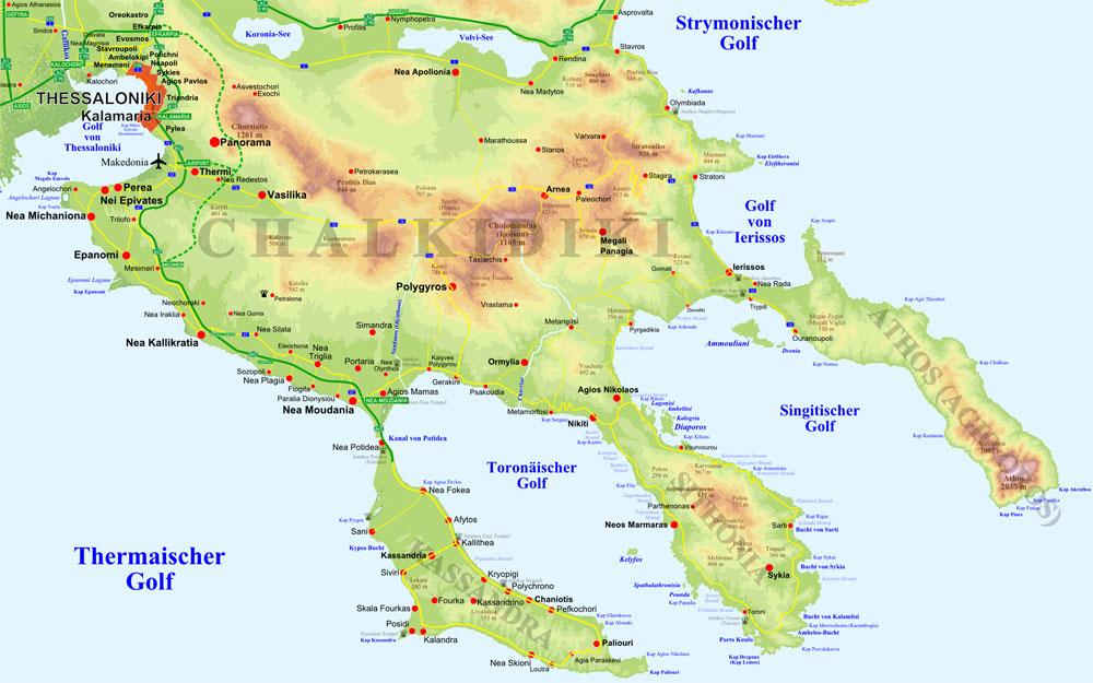 Mapa Recko Chalkidiki Mapa